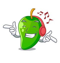 Listening music green mango in the cartoon shape vector