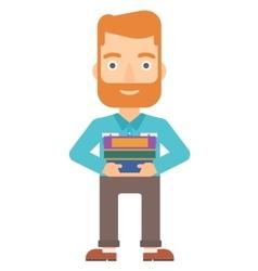 Man holding folders vector