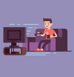 man watching tv and drinking coffee on sofa in vector image