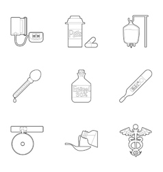 Medical icons set outline style vector