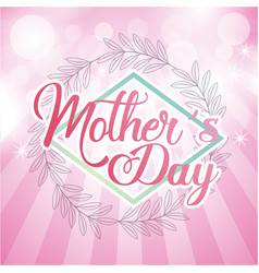 mothers day round leaves decoration striped pink vector image
