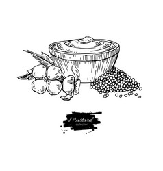 Mustardi sauce in bowl drawing hand drawn vector
