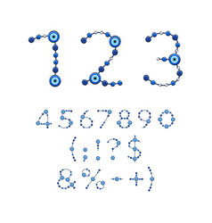 Numbers from jewelry with eye fatima vector