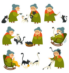 Old woman playing with cat pet elderly lady set vector