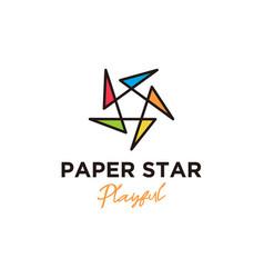 Origami propeller logo design star shape colorful vector