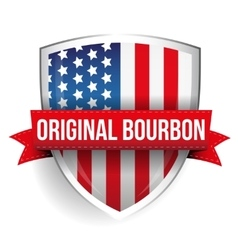 Original Bourbon ribbon on USA flag shield vector image