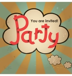 Party lettering design with speech bubble on vector