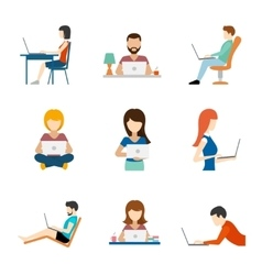 People working on computer flat icons vector