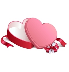 Pink gift open box in heart shape gift open box vector