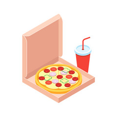 pizza and soft drink isometric flat design style vector image