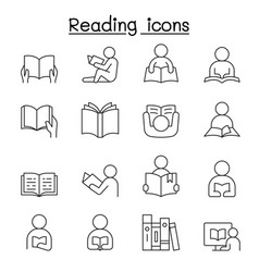 reading icons set in thin line style vector image