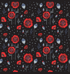 red poppy wildflower botanical pattern vector image
