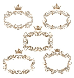 Royal vintage brown borders and frames vector