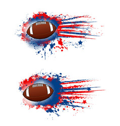 Rugby football banner ball splash stars vector
