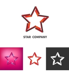 Scattered Star Logo Set Colored Black And White vector