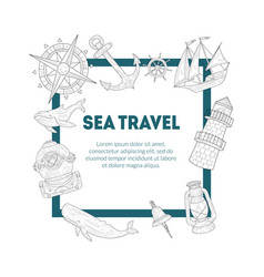 sea travel banner template vintage hand drawn vector image