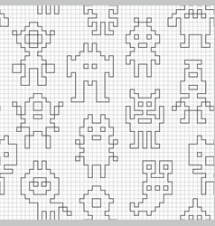Seamless pattern with empty pixel robots vector
