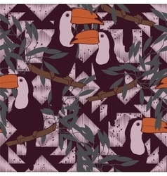 Seamless pattern with toucans and ethnic ornament vector image