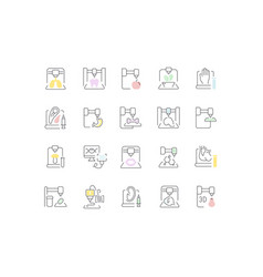 set line icons 3d bioprinting vector image