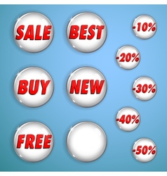 Set of white shiny buttons on sale vector image