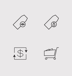Shopping and e commerce outline icons set vector