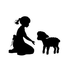 Silhouette girl sitting knees beckon lamb vector