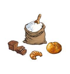 Sketch flour bag bread croissant set vector