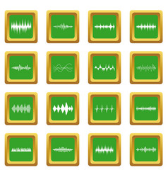sound wave icons set green vector image
