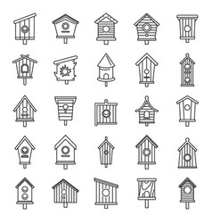 spring bird house icons set outline style vector image