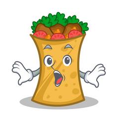 Surprised kebab wrap character cartoon vector