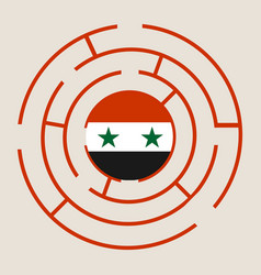 syria flag in the labyrinth vector image