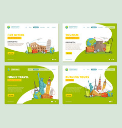 travel landing pages historical landmarks points vector image