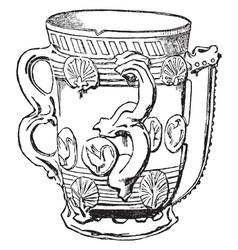 Tyg of staffordshire ware vintage engraving vector