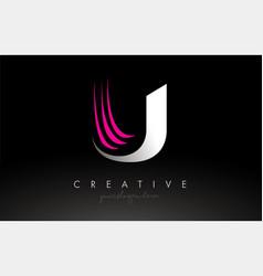 U white and pink swoosh letter logo letter design vector
