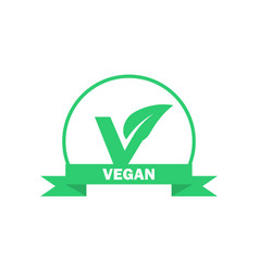 Vegan label vegetarian food icon sticker vector