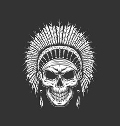 vintage native american indian skull vector image