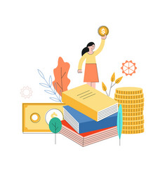 woman standing at book pile golden coin vector image