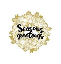 Xmas golden wreath and seasons greetings vector