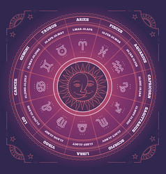 Zodiac circle with horoscope signs colorful vector