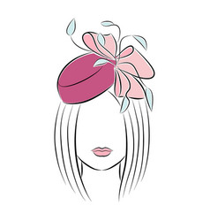 Beautiful young girl in a festive hat with a bow vector