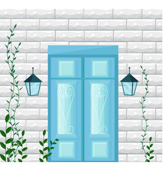 blue door entrance facade vector image vector image