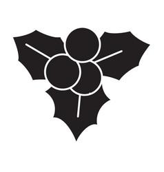 flat black christmas decoration icon vector image vector image