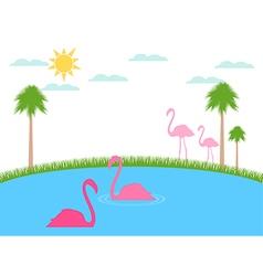 Landscape with flamingos wildlife refu vector image
