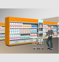 man with shopping basket in supermarket vector image