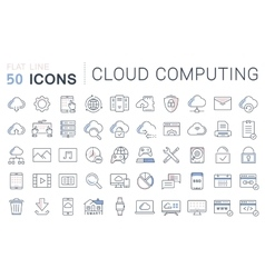 Set Flat Line Icons Cloud Service vector image