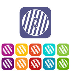 Striped sewing button icons set flat vector