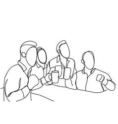 group of sketch men drinking beer hold glasses vector image