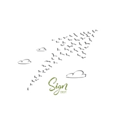 Hand drawn sign of growth formed by birds flock vector image vector image