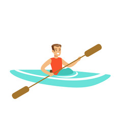 male athlete character maneuvering kayaking vector image