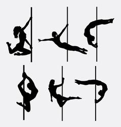 Pole dancer female silhouettes vector